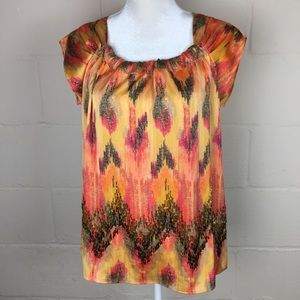 NWT ann taylor orange beaded silky blouse 8P